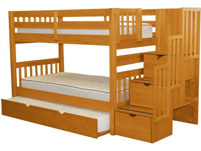 Bedz King Bunk Beds Twin Over Twin Stairway, 3 Step Drawers, Twin Trundle, Honey.