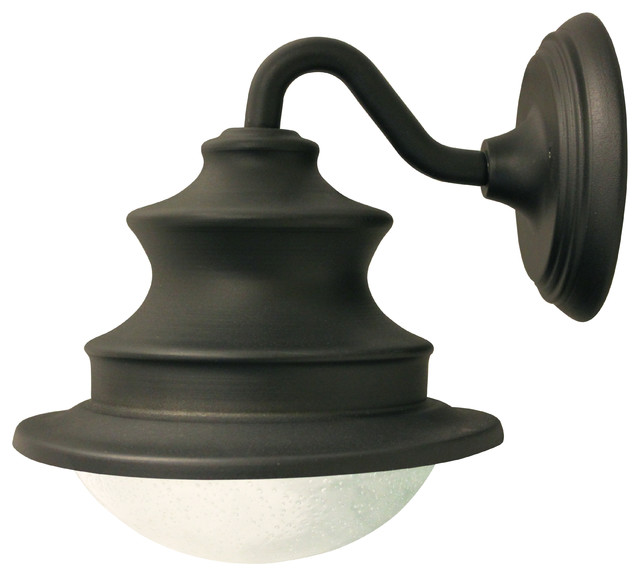 White Solar Lights Outdoor Part - 46: Solar Barn Light With Gooseneck Wall Mount Traditional-outdoor-wall-lights -and