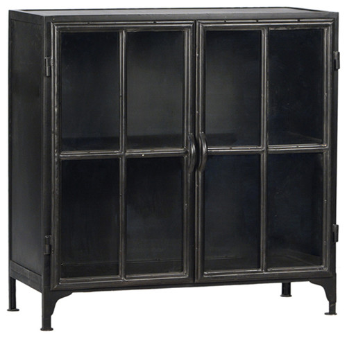 Industrial Gunmetal Side Cabinet
