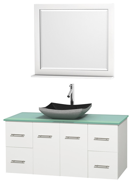 Centra 48 White Single Vanity Green Glass Top Altair Black Granite Si