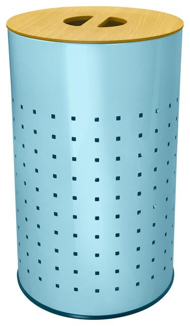 Light Blue Stainless Steel Laundry Bin And Hamper.