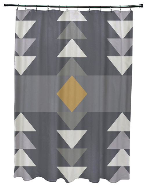 71X74 Sagebrush Geometric Print Shower Curtain