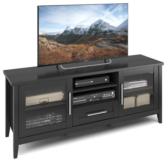 "Corliving Jackson Tv Bench In Black Wood Grain Finish, For Tvs Up To 65""."