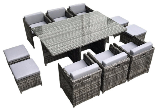 Outdoor Patio Wicker Furniture All Weather, Dining Table and Chair, 11-Piece Set