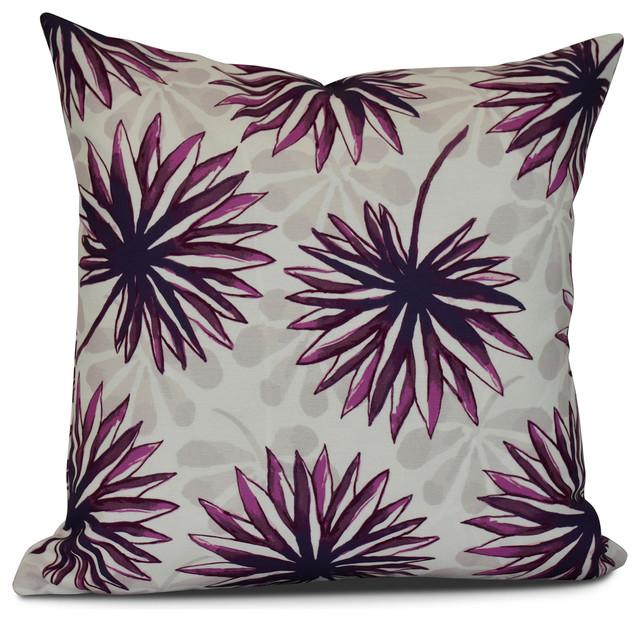 Purple Floral Decorative Pillows : E by Design - 16x16