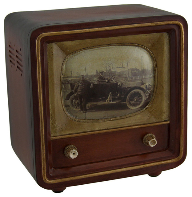 Retro Bank Design.Brown Vintage Finish Square Retro Television Coin Bank 6 Inch