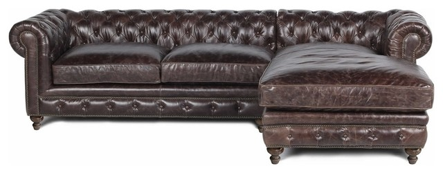 Brown Leather Sofa With Chaise Rolled Arm Traditional Sectional Sofas