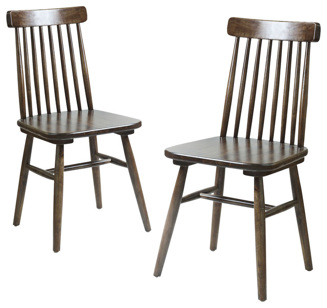 Classic Mission Back Solid Elm Wood Dining Chairs Set Of 2 Dining