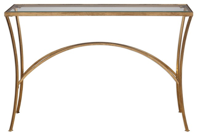 Minimalist Gold Arch Console Table Metal Gl Top Hall Entry Transitional Tables