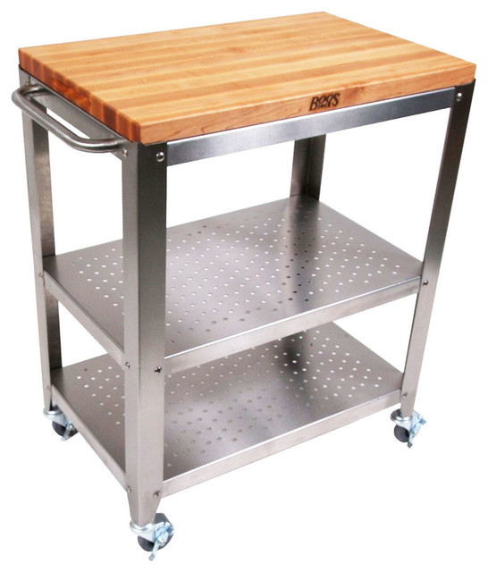 Boos Blocks Stainless Steel Kitchen Cart With Wood Top Kitchen Islands And Kitchen Carts Houzz