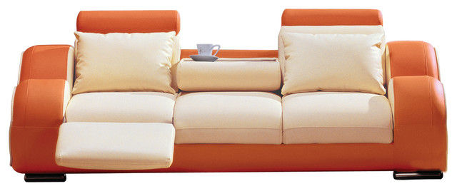 Exceptionnel Julius Orange And Beige Leather Sofa