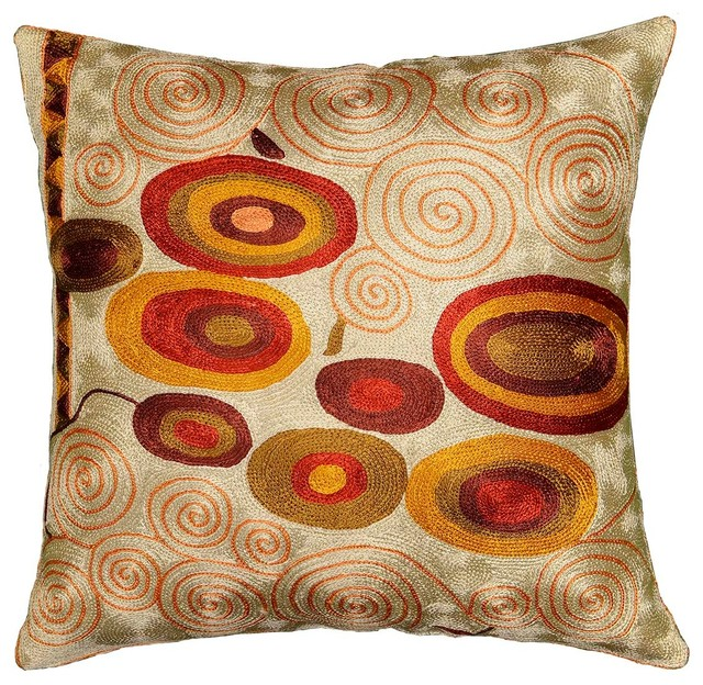 Kashmir Designs Klimt Accent Pillow Cover Ivory Swirls Silk Hand Embroidered 18