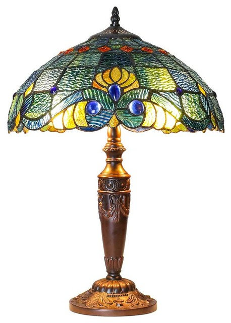 """20"""" Tiffany Style Stained Glass Swirling Shells Table Lamp."""