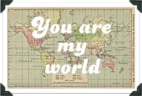 Vintage World Map Print, You are my world by Ex Libris Journals eclectic artwork