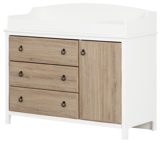 South Shore Catimini Changing Table With Changing Station, White And Rustic  Oak Transitional Changing