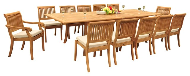 13 piece teak dining set 117 double extension table 12 for 13 piece dining table set
