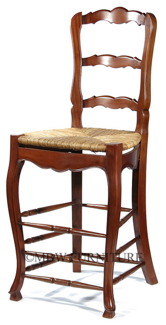 Solid Mahogany Ladder Back Barstool With Hand Woven Rush Seat Traditional Bar Stools
