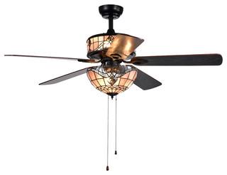 Orla 6 Light Baroque Tiffany 5 Blade 52 Quot Black Ceiling Fan