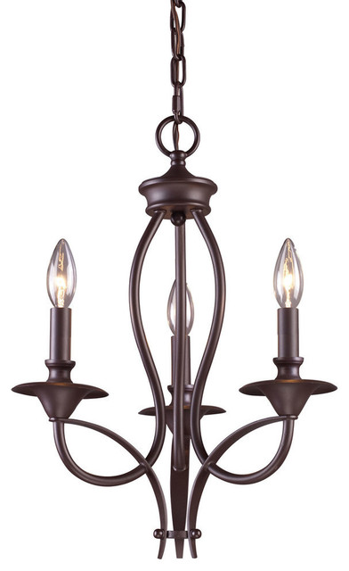 Medford 3-Light Chandelier, Oiled Bronze