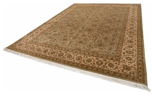 Gold And Green Pak Persian Rug,Rectangle, 9'x12.25'