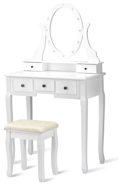 . Elegant 5 Drawers Vanity Dressing Table Stool Set With 12 LED Bulbs