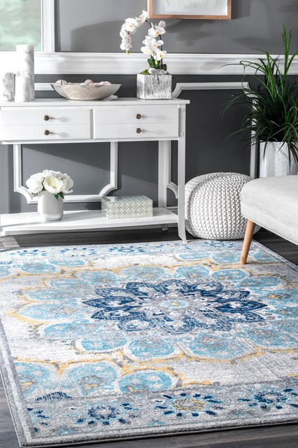 Nuloom Contemporary Withered Bloom In Bouquet Area Rug, Blue, 6&x27;7x9&x27;.