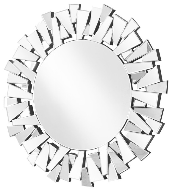 "Sparkle  Contemporary Round Mirror, 31.5""."