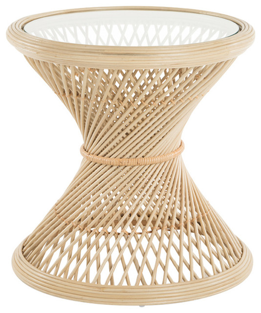Attractive Peacock Rattan Side Table With Glass Top, Natural Tropical Side Tables And