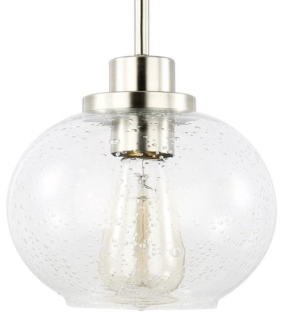 Sheridan Seeded Glass Pendant Light, Satin Nickel.