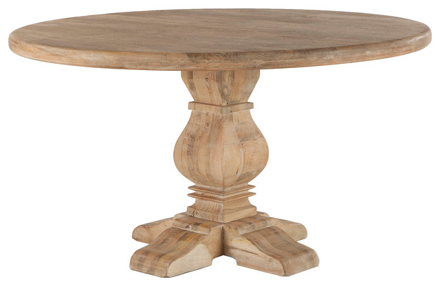 Mango Wood Round Dining Table, Antique Oak - Traditional ...