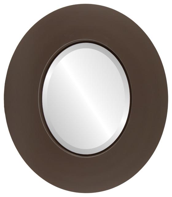 Moda Framed Oval Mirror In Stone Brown Contemporary Wall - Contemporary oval mirrors