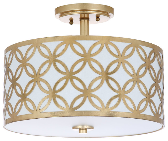 "Safavieh Cecily 3-Light 15"" Dia Flush Mount."
