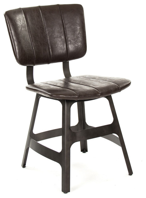 Rustic Metal Dining Chairs robertson rustic industrial espresso brown leather iron dining
