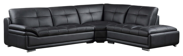 Lindsay modern sectional leather match 3 piece set for 3 piece black modern sectional sofa