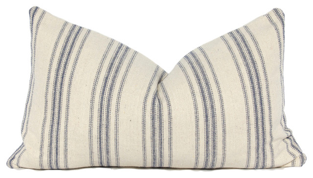 French Country Striped Linen Lumbar Pillow Cover Blue