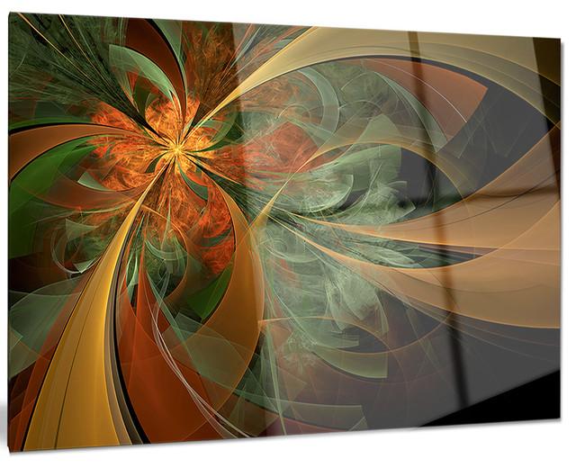 symmetrical orange digital fractal flower modern metal. Black Bedroom Furniture Sets. Home Design Ideas