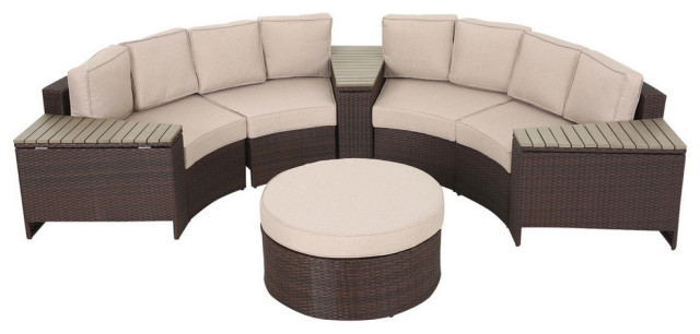 Mia Outdoor 4 Seater Wicker Curved, Round Outdoor Sectional