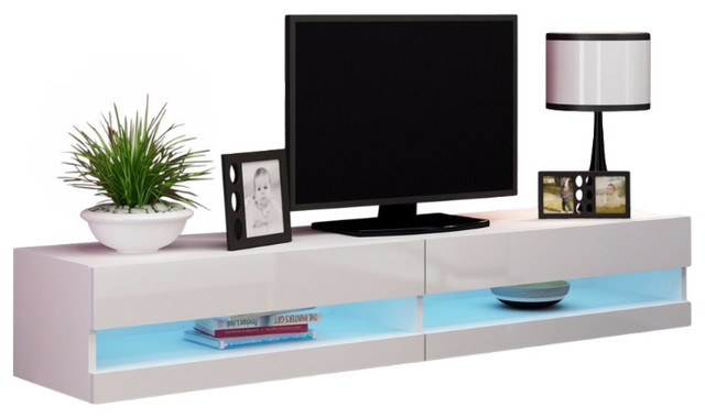 "Vigo 180 LED Wall Mounted Floating TV Stands Fits 80"" TV - Contemporary - Entertainment Centers ..."