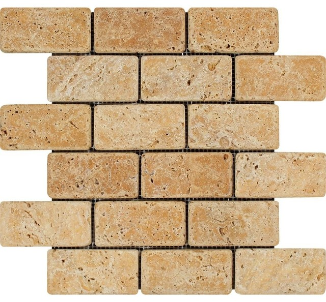Gold Brick Mosaic 2x4 Tumbled Mosaic Tiles Traditional