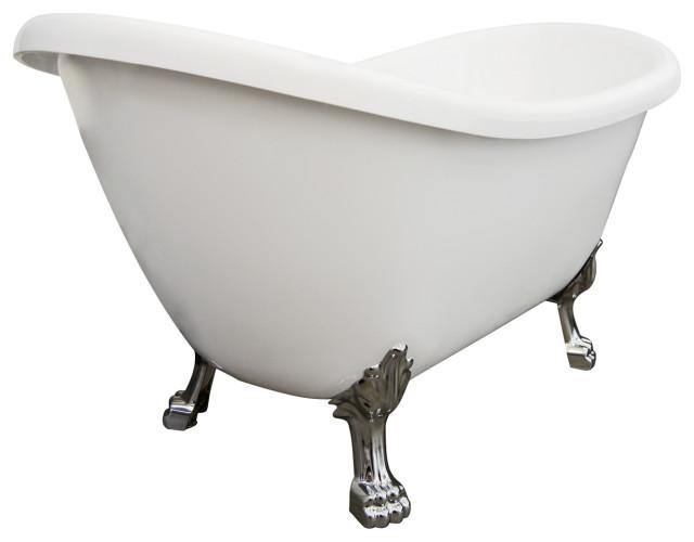 "Daphne Acrylic Freestanding Acrylic Clawfoot Bathtub, White, 59"", Chrome Feet"