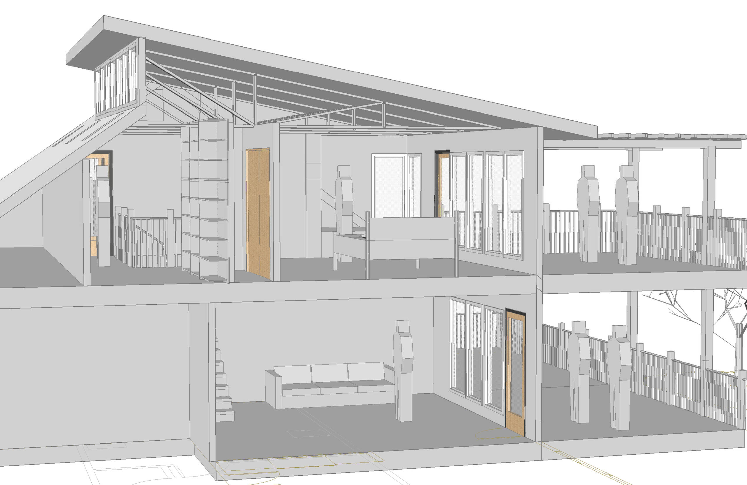 Section View showing lower living/deck and upper master bedroom and deck