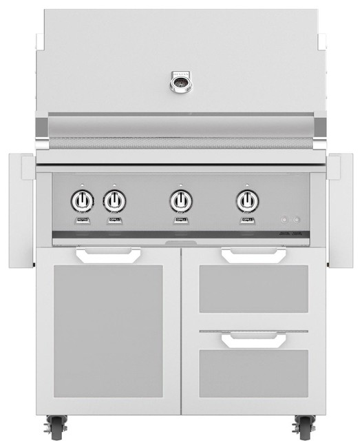 Grill With Door/drawer Combo And One Infrared Burner, Steeletto, Propane, 36.