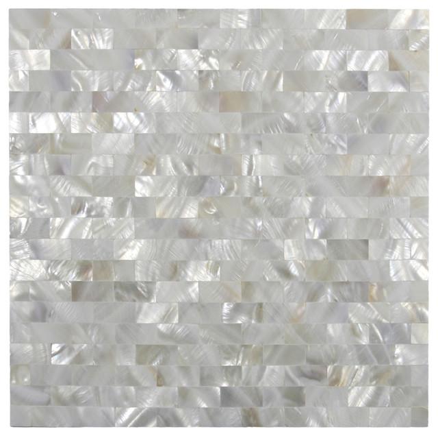White Brick Groutless Pearl Shell Tile Modern Tile