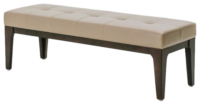 Aico Amini 21 Comopolitan Taupe Leather Non-Storage Bed Bench.