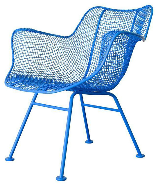 Russell Woodard Sculptura Armchair In Sky Blue Contemporary Outdoor Lounge  Chairs