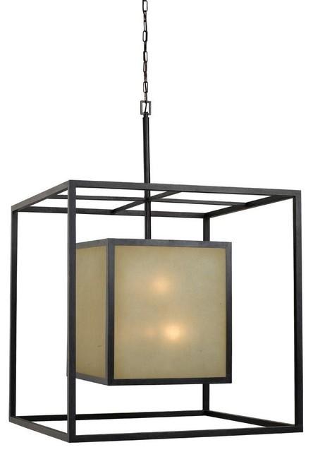 Hilden 12 Light Square Hanging Pendant, Aged Bronze Pendant Lighting
