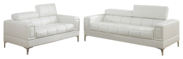 Leather 2-Piece Sofa Set With Foldable Headrests, White.