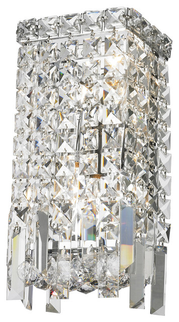 Sparkling 2 Light Full Lead Crystal Chrome Finish Wall Sconce