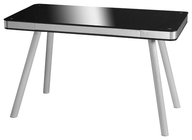 Onespace Glass Writing Desk With Aluminum Frame, Black.