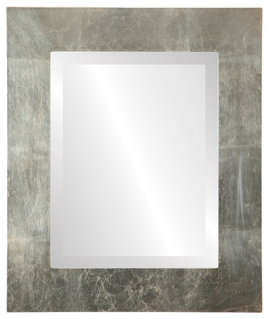 """Ashland Framed Rectangle Mirror In Silver Leaf With Brown Antique, 29""""x41""""."""